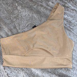 Nude crop top one shoulder